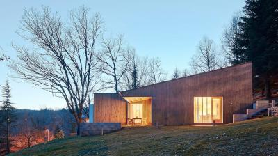 Prefabricated wooden home in the Pyrenees by architect Marc Mogas